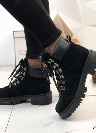 Ботинки женские замшевые демисезонные на шнуровке