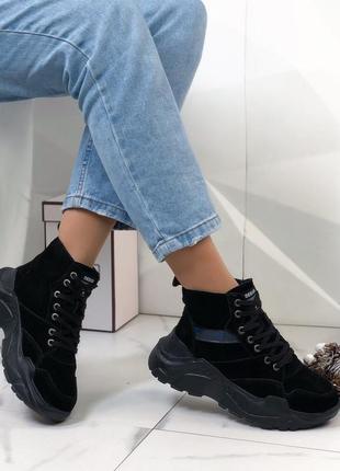 Ботинки замшевые зимние женские черные