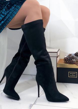 Сапоги замшевые на тонком каблуке