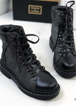 Женские кожаные осенние ботинки женские