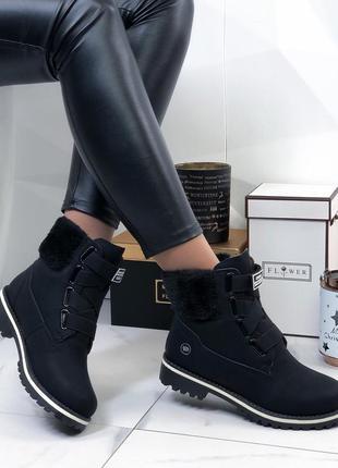 Женские ботинки черные зимние