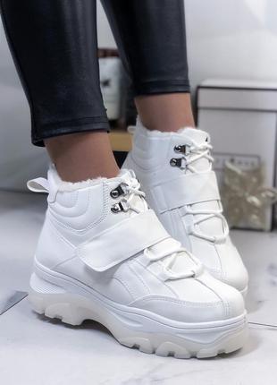 Ботинки женские белые зимние