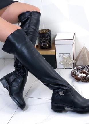 Ботфорты кожаные зимние черные