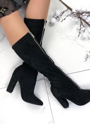 Женские сапоги на каблуке замшевые с молнией спереди