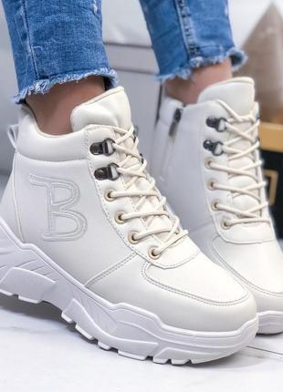 Ботинки высокие белые женские зимние