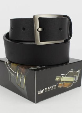 Кожаный классический ремень maybik 15009 черный 35 мм с коробо...
