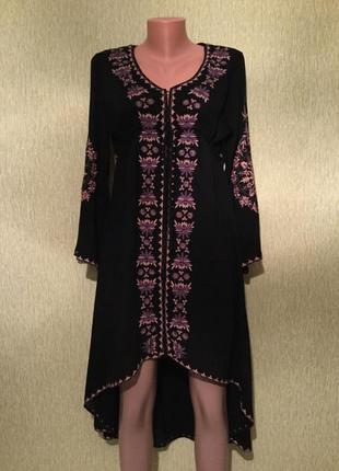 Шикарное платье с вышивкой с каскадным низом  размер м