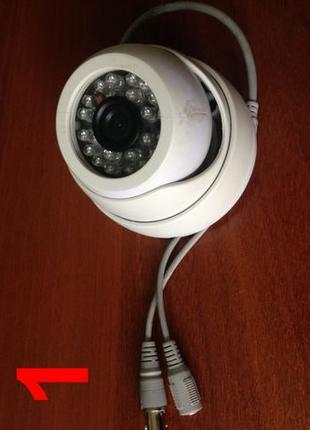 Камера видеонаблюдения цветная, купольная с посветкой
