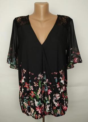 Блуза красивенная легкая кружево цветочный принт на запах lips...