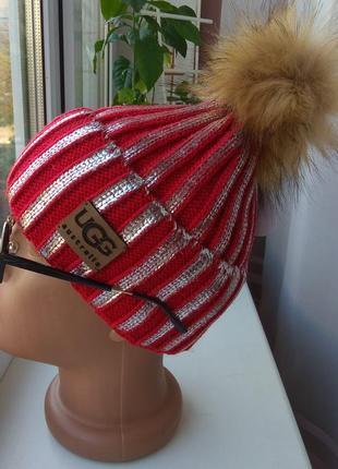 Новая стильная шапочка металлик с бубоном (на флисе), красная