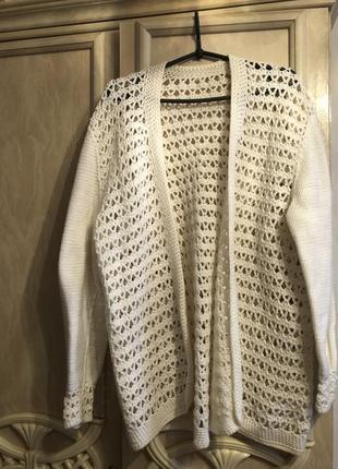 Вязаный ,крупная вязка ,кардиган натуральная шерсть теплый ххл...