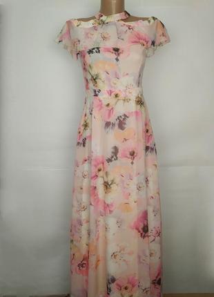 Платье новое цветочное красивое с бантом на спинке uk 8/36/xs