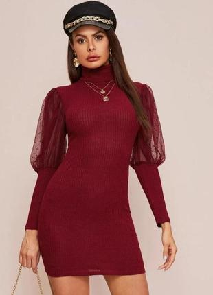 Платье в рубчик с рукавами сеточкой