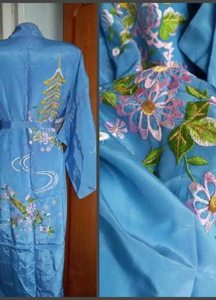 Роскошный яркий халат кимоно с вышивкой в китайском стиле