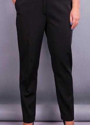 Размеры 50-64! брюки классика тр-ж на флисе, черные!