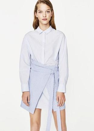 Хлопковое комбинированное платье рубашка в полоску zara