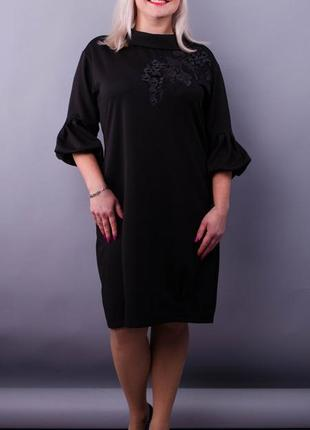 Размеры 50-64! нарядное платье с 3d вышивкой на сетке, черное,...
