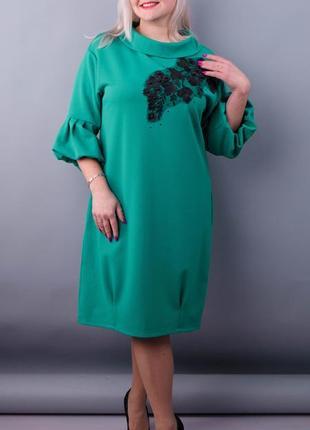 Размеры 50-64! нарядное платье с 3d вышивкой на сетке, бирюза,...