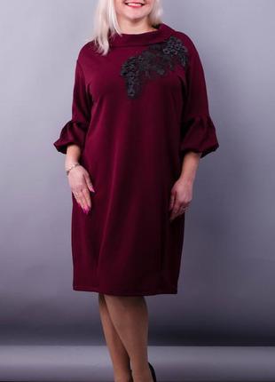 Размеры 50-64! нарядное платье с 3d вышивкой на сетке, бордо, ...
