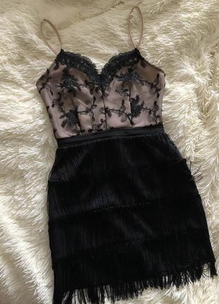 Платье на новый год бахрома кружево