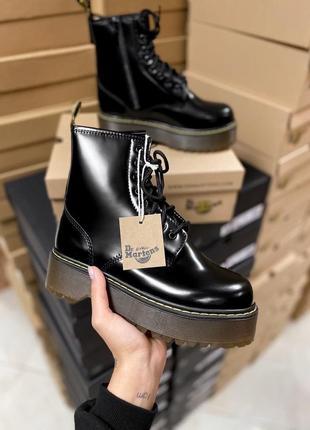 Женские черные ботинки на платформе с мехом dr. martens high f...