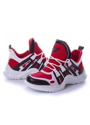 Кроссовки женские красные с белым