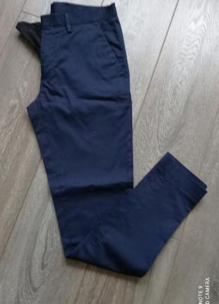 Темные синие стрейч узкие брюки чиносы штаны