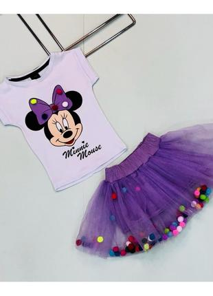 Костюм  Minnie Mouse летний на девочку 2-8 лет