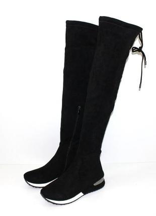 Женские зимние спортивные высокие сапоги ботфорты