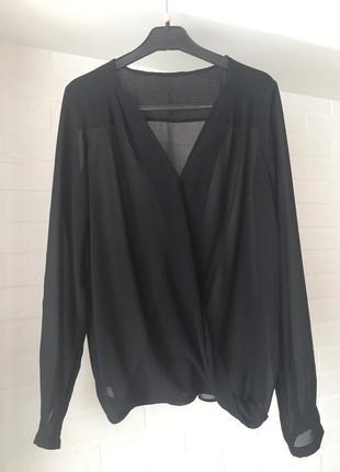 Чёрная шифоновая блуза размер 46