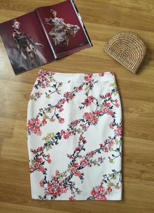 Красивая юбка карандаш m&s collection из хлопка размер 12uk на...