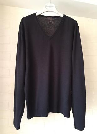 Чёрный мужской джемпер h&m размер m мериносовая шерсть