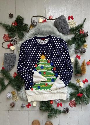 Новогодний рождественский свитер джемпер елка с гирляндой №7