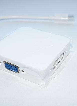 Переходник 3в1 с Mini DisplayPort в DP, HDMI, DVI -> Thunderbolt