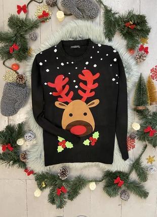 Новогодний рождественский свитер джемпер с оленем №9