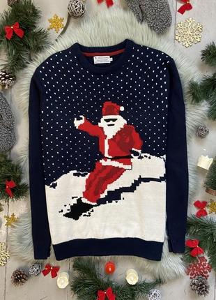 Новогодний рождественский свитер джемпер санта клаус на сноубо...