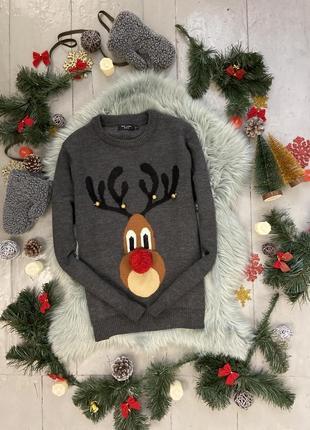 Новогодний рождественский свитер джемпер с оленем №16 new look