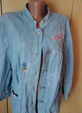 Джинсовый пиджак куртка женская жакет 52-54 размер