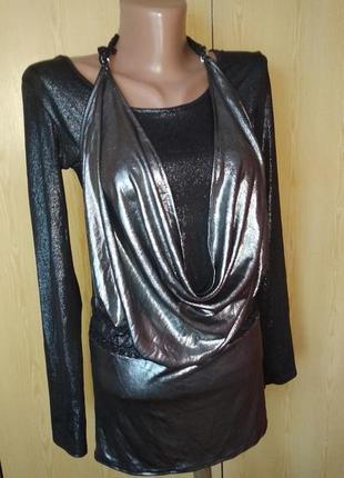 Нарядное блестящее платье туника