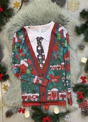 Яркий стрейчевый лонгслив с новогодним рождественским принтом №23