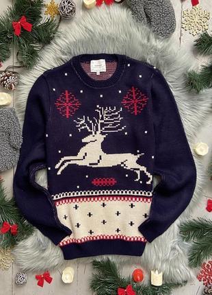 Новогодний рождественский свитер джемпер с оленем №28 topman