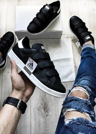 Кроссовки на липучках adidas stan smith cf black!