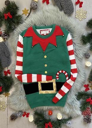 Новогодний рождественский свитер джемпер рождественский эльф №32