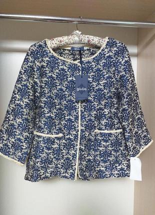 Жакет пиджак в принт вензеля с карманами