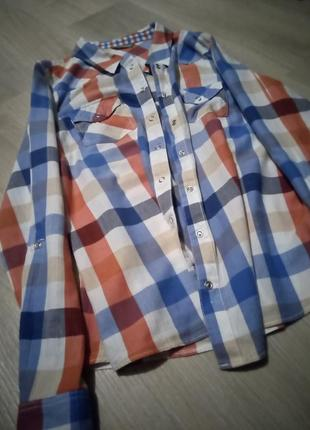 Брендовая рубашка клетка marks & spencer