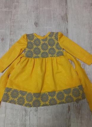 Нарядное теплое платье для девочаи длинный рукав