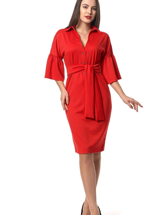 Красное коктельное миди платье