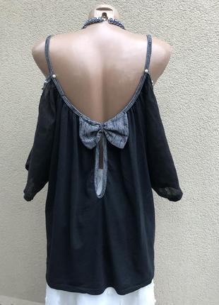 Комбинирован блуза,рубаха,открытая спина,этно,бохо стиль,лён,