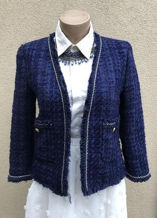 Твидовый жакет,пиджак,блейзер,стиль шанель,бахрома,