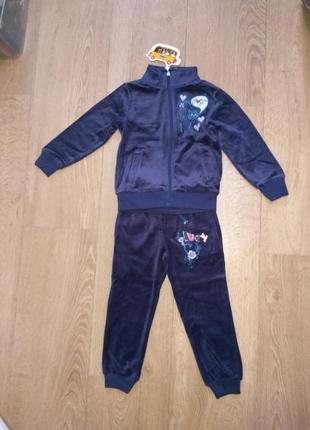 Велюровый спортивный костюм синий с кошечкой tm nova